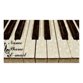 Llaves y Me_ del piano Tarjetas De Visita