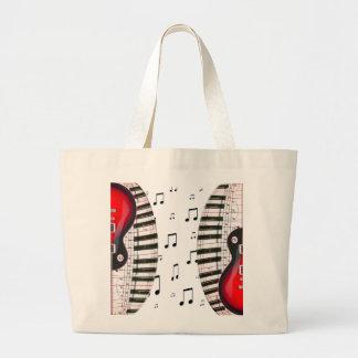 Llaves y nota rojas del piano de la guitarra bolsa tela grande