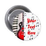 Llaves y nota rojas del piano de la guitarra pin