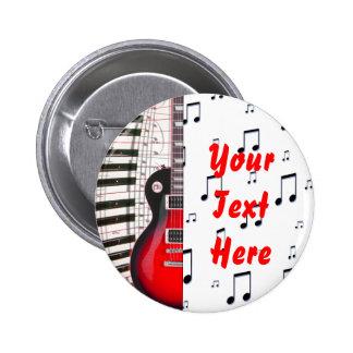 Llaves y nota rojas del piano de la guitarra pin redondo de 2 pulgadas
