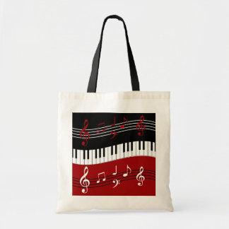 Llaves y notas blancas negras rojas elegantes del bolsa tela barata