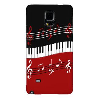 Llaves y notas blancas negras rojas elegantes del funda galaxy note 4