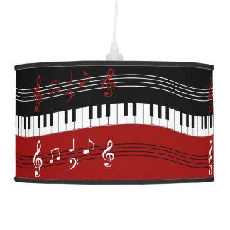 Llaves y notas blancas negras rojas elegantes del lámpara de techo