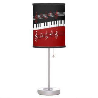 Llaves y notas blancas negras rojas elegantes del lámpara de escritorio
