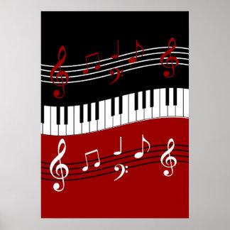 Llaves y notas blancas negras rojas elegantes del póster