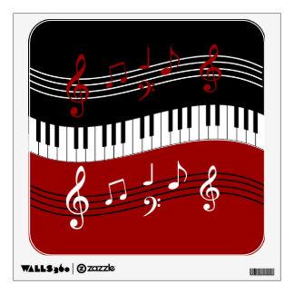 Llaves y notas blancas negras rojas elegantes del vinilo
