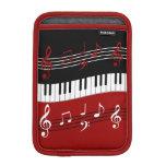 Llaves y notas negras blancas rojas elegantes del  fundas de iPad mini