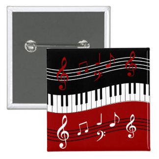 llaves y notas negras blancas rojas elegantes del  pins