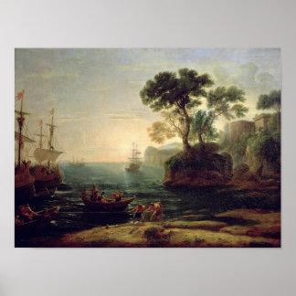Llegada de Aeneas en Italia el amanecer del Posters