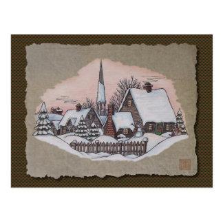Llegada de la mañana de navidad tarjetas postales