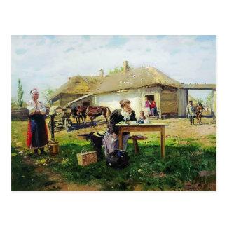 Llegada de Vladimir Makovsky- de una señora de la  Tarjetas Postales