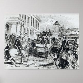 Llegada del transporte del gobierno póster