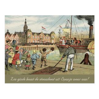 Llegada del vintage holandés del St. Nick de Tarjeta Postal