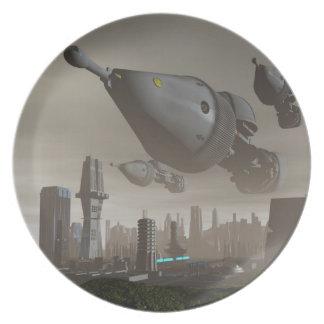 Llegada gigante 2 de la nave espacial plato de cena