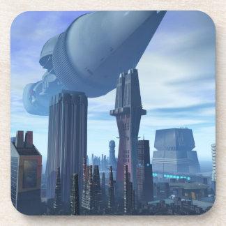 Llegada gigante de la nave espacial posavasos de bebidas