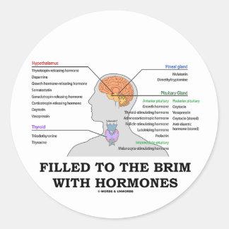 Llenado al borde de las hormonas (anatomía) pegatina redonda