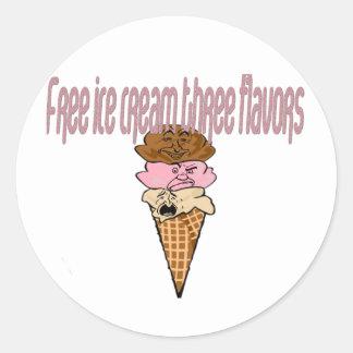 Llene el helado libre del pegatina tres sabores