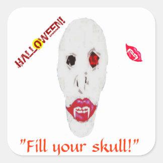 Llene pegatina de Halloween de su cráneo