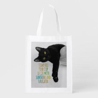 Llene su taza de cita de motivación del gato negro bolsas reutilizables