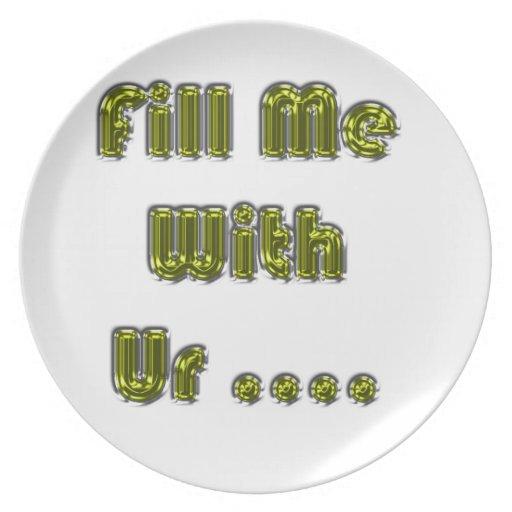 Lléneme de su amor del punto del ur platos de comidas