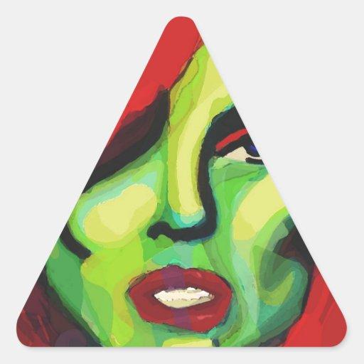 lleno de arbustos pegatina triangular