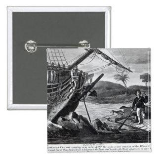 Llevada de Robinson Crusoe Pin Cuadrado