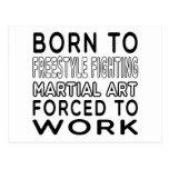 Llevado al estilo libre luchar arte marcial forzó postal
