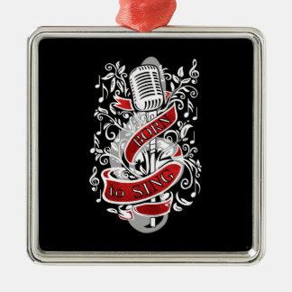 Llevado cantar los ornamentos del navidad adorno navideño cuadrado de metal