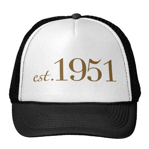 Llevado en 1951 (60.o cumpleaños) gorros