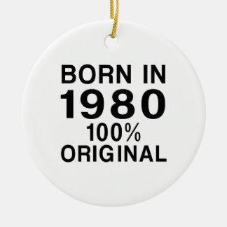Llevado en 1980 adorno navideño redondo de cerámica