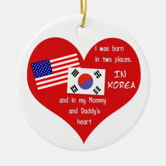 Llevado en dos lugares - recuerdo coreano de la adorno redondo de cerámica