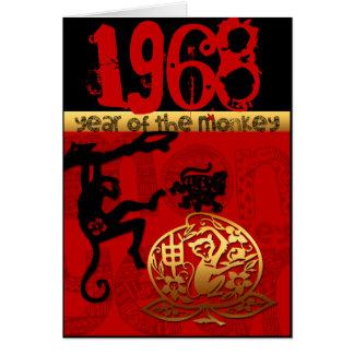 Llevado en el año 1968 del mono - astrología china tarjeta de felicitación