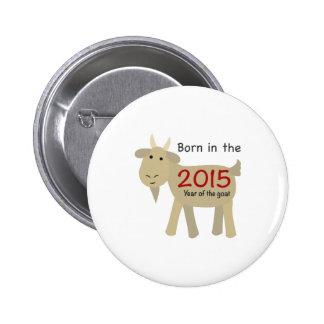 Llevado en el año de la cabra 2015 pin redondo 5 cm