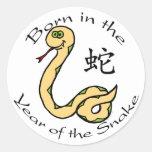 Llevado en el año de la serpiente (china) pegatina redonda