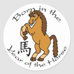 Llevado en el año del caballo pegatinas redondas