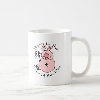 Llevado en el año del cerdo (chino) taza