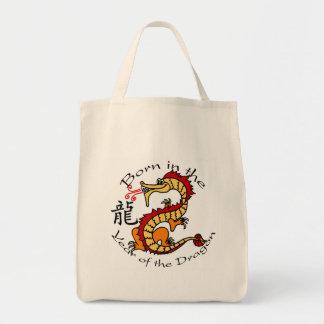 Llevado en el año del dragón (chino) bolsa tela para la compra