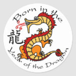 Llevado en el año del dragón (chino) pegatinas redondas