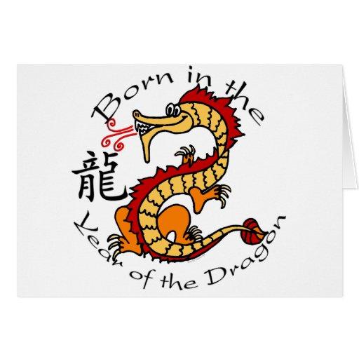 Llevado en el año del dragón (chino) felicitaciones