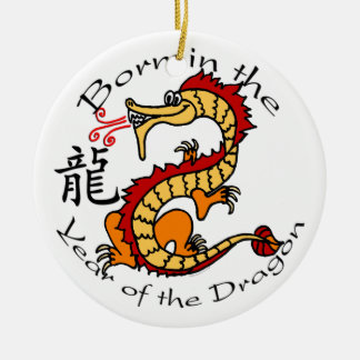 Llevado en el año del ornamento del dragón adorno navideño redondo de cerámica