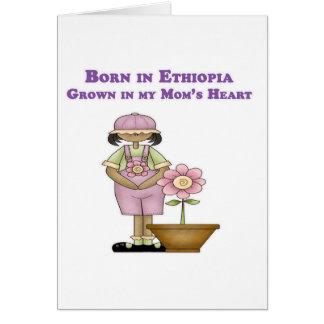 Llevado en Etiopía crecida en el corazón de mi mam Tarjeta De Felicitación