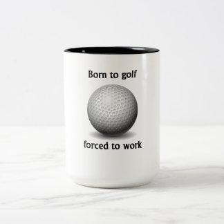 Llevado Golf forzado para trabajar Taza De Café De Dos Colores