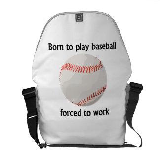 Llevado jugar al béisbol forzado para trabajar bolsa messenger