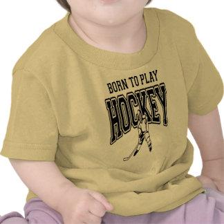 Llevado jugar al hockey (negro) camisetas