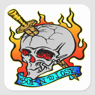 Llevado perder el tatuaje del cráneo pegatina cuadrada