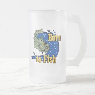 Llevado pescar la camiseta de la pesca taza cristal mate