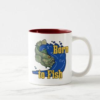 Llevado pescar la camiseta de la pesca taza dos tonos