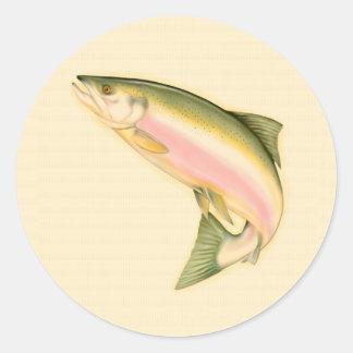 Llevado pescar etiqueta redonda