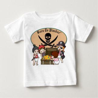 Llevado pillar - piratas y tesoro de la niña playera de bebé