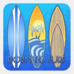 Llevado practicar surf calcomanía cuadradas